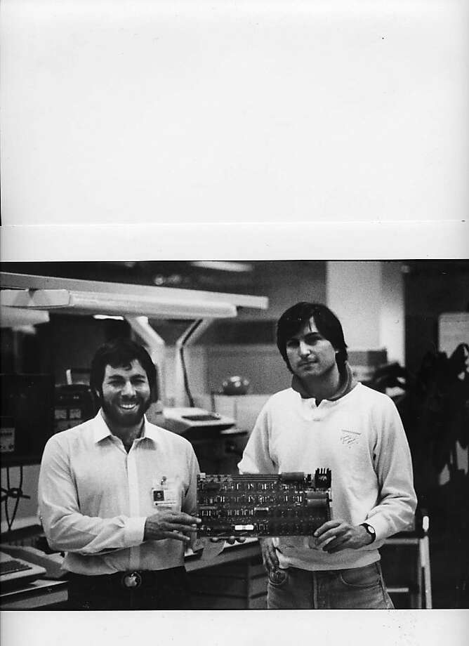 Steve Wozniak and Steve Jobs, Co-Founder of the Apple Computer with one of the original Apple I computer circuit boards. Photo: Courtesy Photo, Handout