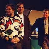 At the MacWorld Expo trade show, Apple CEO Gil Amelio (right) and Apple founders, Steve Wozniak (left) and Steve Jobs (center) were the key note speakers at the Marriott Hotel in San Francisco on January 7, 1997.