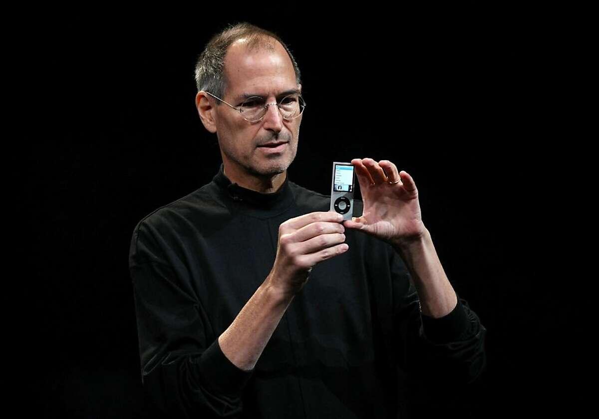 Apple CEO Steve Jobs announces a new version of the iPod Nano during a special event September 9, 2008 in San Francisco, California. Jobs announced a new version of the popular iTunes software and a new iPod Nano.