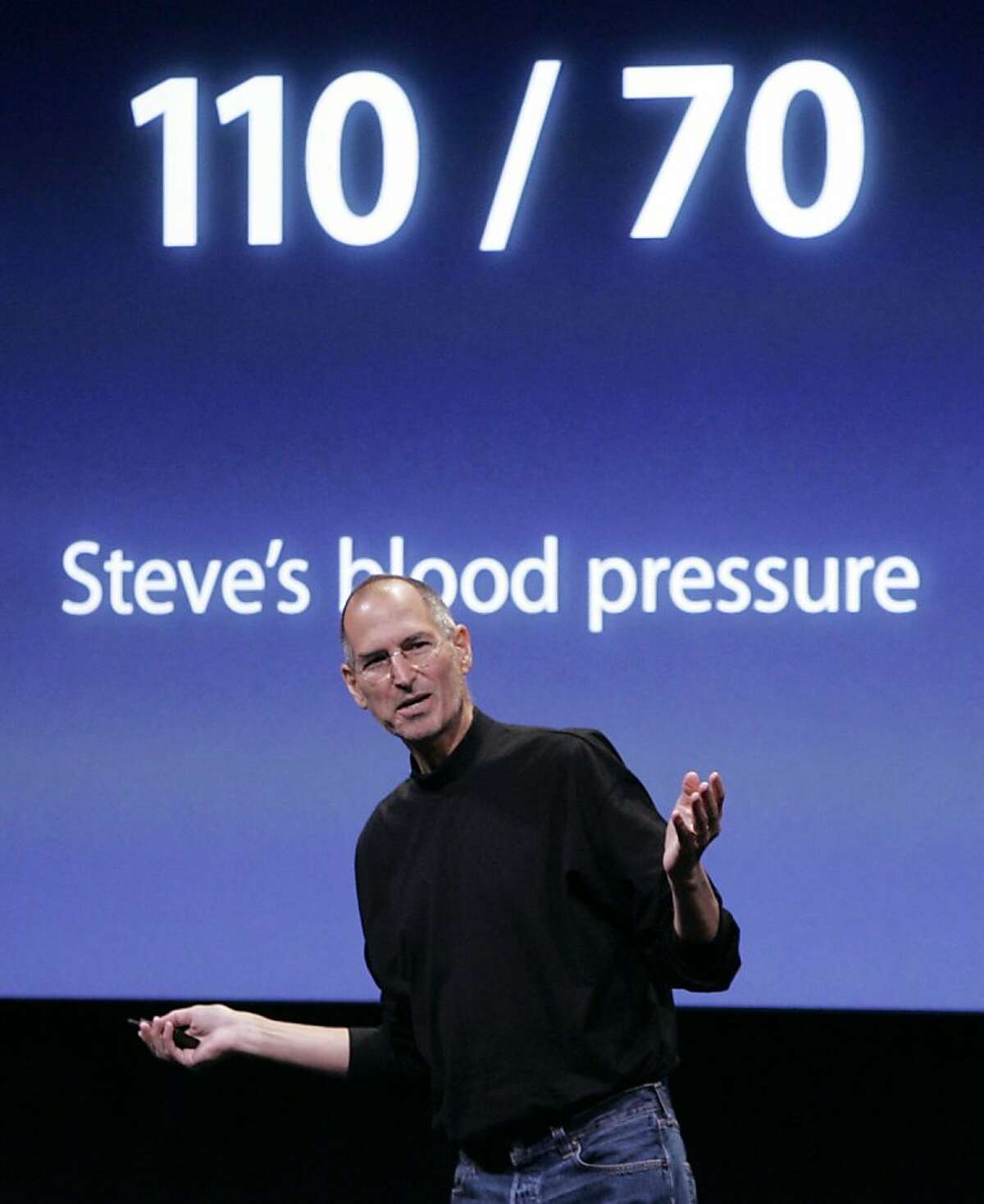 In this Oct. 14, 2008 file photo, Apple Inc. CEO Steve Jobs jokes about his health during a product announcement at Apple headquarters in Cupertino, Calif. Legendary CEOs like Jobs are an incredibly tough act to follow. But companies can lessen the letdown that almost inevitably occurs after losing someone like Jobs by drawing up a logical succession plan that prepares an heir apparent to fill the void.