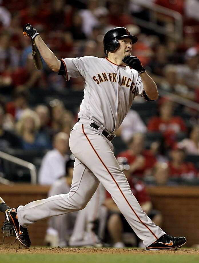 San Francisco Giants' Aubrey Huff watches as his two-run home run heads out of the park for his third home run of the baseball game during the ninth inning against the St. Louis Cardinals, Thursday, June 2, 2011, in St. Louis. Photo: Jeff Roberson, AP