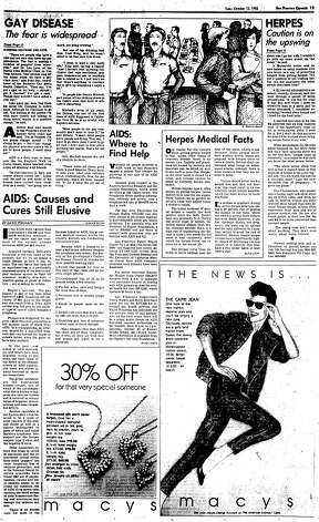 The Chronicle package of stories about AIDS on October 12, 1982. Photo: The Chronicle, 1982