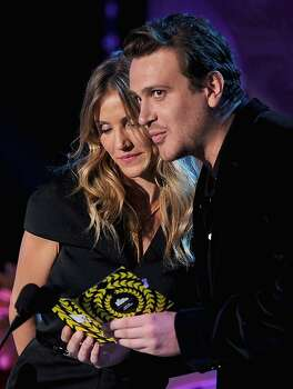 UNIVERSAL CITY, CA - JUNE 05:  Actors Cameron Diaz (L) and Jason Segel speak onstage during the 2011 MTV Movie Awards at Universal Studios' Gibson Amphitheatre on June 5, 2011 in Universal City, California. Photo: Kevin Winter, Getty Images