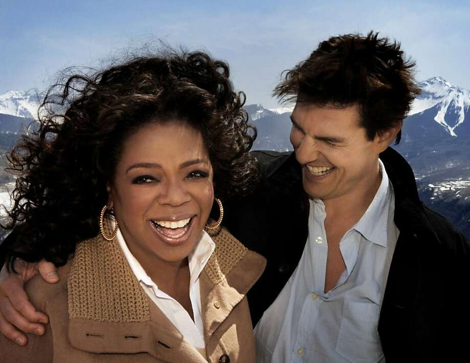 """Talk show host Oprah Winfrey (L) and actor Tom Cruise are shown in this publicity photo taken April 25, 2008 and released to Reuters April 29, 2008, during an interview for 'The Oprah Winfrey Show' at Cruise's home in Telluride, Colorado. The taped interview will air May 2, 2008, and then Cruise will appear on Winfrey's Chicago set May 5, 2008 to celebrate his 25 years in the film industry since his breakout role in """"Risky Business."""" Photo: Harpo Productions, Inc"""