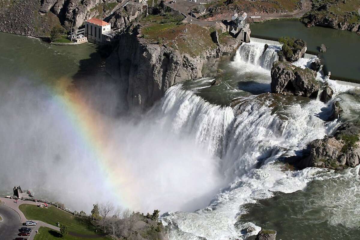 More than 18,000 cubic feet per second of water flow over Shoshone Falls on Saturday May 21, 2011 in Twin Falls, Idaho. Wet weather and delayed snowmelt have combined to make a spectacular sight for visitors to Shoshone Falls in southern Idaho.
