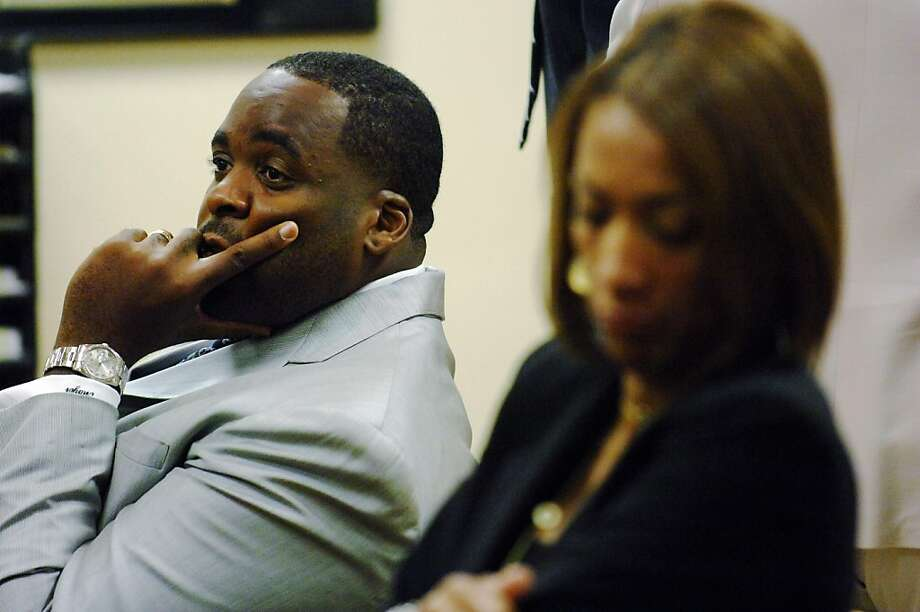 Detroit Mayor Kwame Kilpatrick, left, was indicted in 2008 on charges of lying under oath and obstructing justice for not revealing in court proceedings that he and Christine Beatty, the woman sitting to his right and his former chief of staff, had a sexual relationship. Photo: Fre, AP