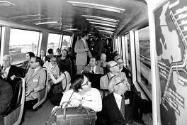 BART passengers on the relatively new train system peer out the windows. Photo taken Spet. 12, 1972.BART passengers on the relatively new train system peer out the windows. Photo taken Spet. 12, 1972.