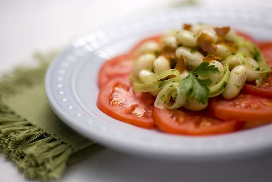 Bottarga Recipe: Salad of Zolfini beans, Dry-farmed tomatoes, celery and Bottarga. Photo: Peter DaSilva, SFC