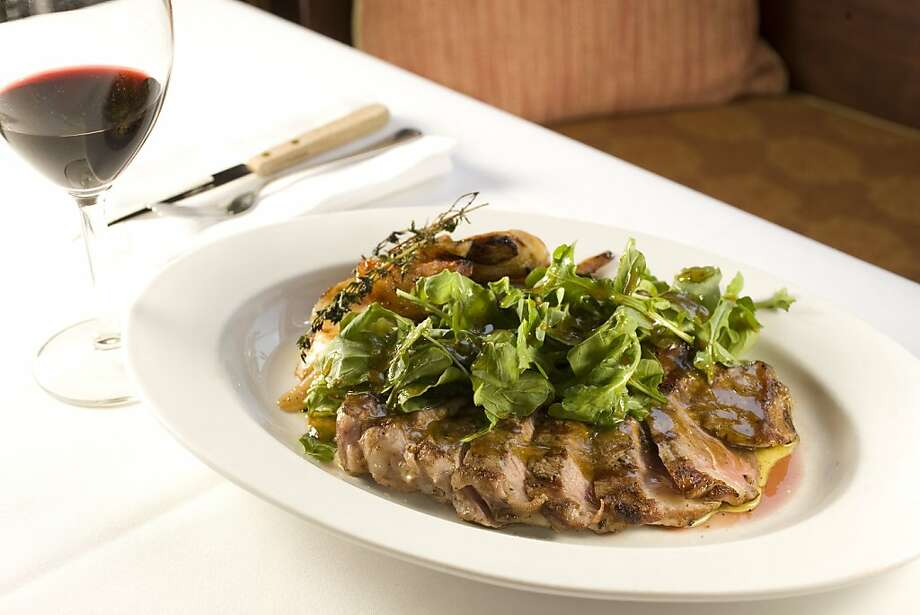 A dish called Tagliata di Manzo, which is grilled New York steak with arugula and roasted potato made by Ruggero Gadaldi, chef and owner of Antica Trattoria, 2400 Polk street. This was in San Francisco, Calif., on April 11, 2008. Photo by Craig Lee / The San Francisco Chronicle Photo: Photo By Craig Lee, SFC