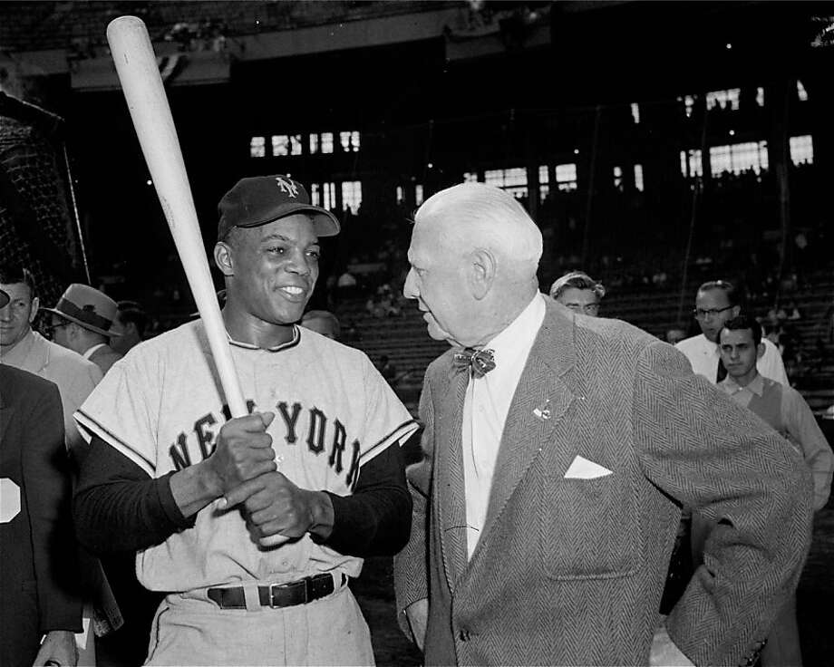 Willie Mays, left, centerfielder for the New York Giants, chats with a former great player with the Boston Red Sox and the Cleveland Indians, Tris Speaker, prior to the start of the fourth game of the 1954 World Series between the New York Giants and the Cleveland Indians in Cleveland's Municipal Stadium, October 2, 1954. Photo: AP