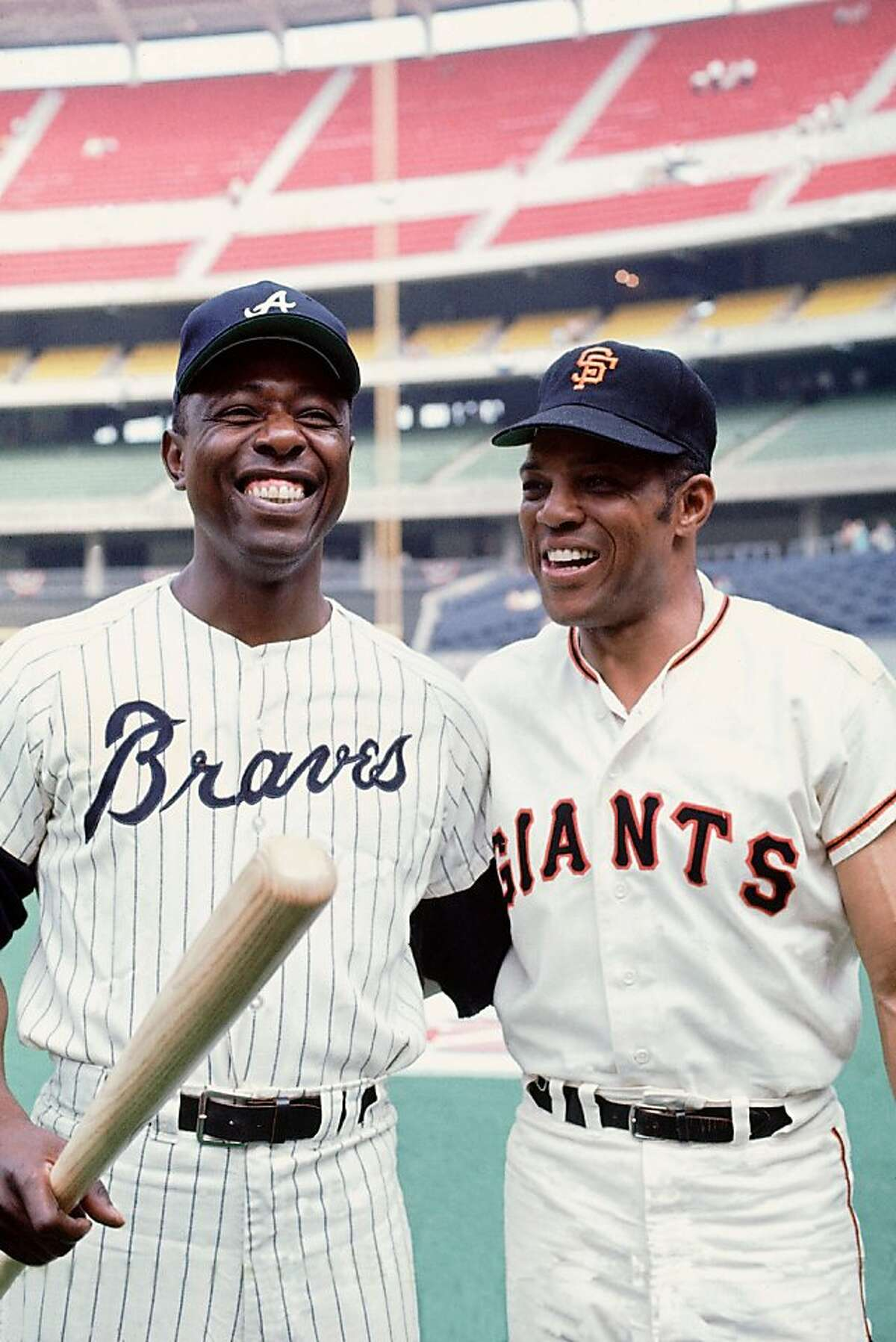 Hank Aaron #44 of the Atlanta Braves poses with Willie Mays #24 of the San Francisco Giants before the 1970 All-Star Game on July 14, 1970 at Riverfront Stadium in Cincinnati, Ohio.