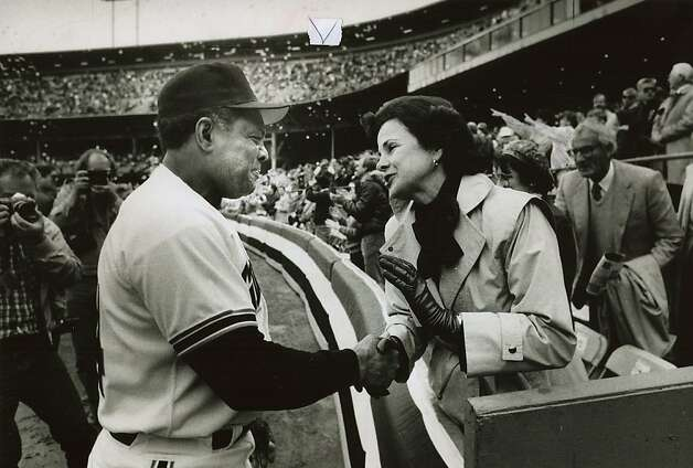 April 15, 1986 - Willie Mays says a few words to S.F. mayor Dianne Feinstein before the start of the Giants' home opener at Candlestick Park. Photo: Michael Maloney, The Chronicle