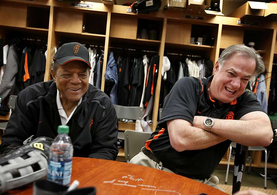Willie Mays (left) and Giants equipment manager Mike Murphy share a laugh recalling all their years together. The San Francisco Giants held a workout at their Scottsdale Stadium facility Wednesday February 24, 2011 and also a short inter squad game. Photo: Brant Ward, The Chronicle