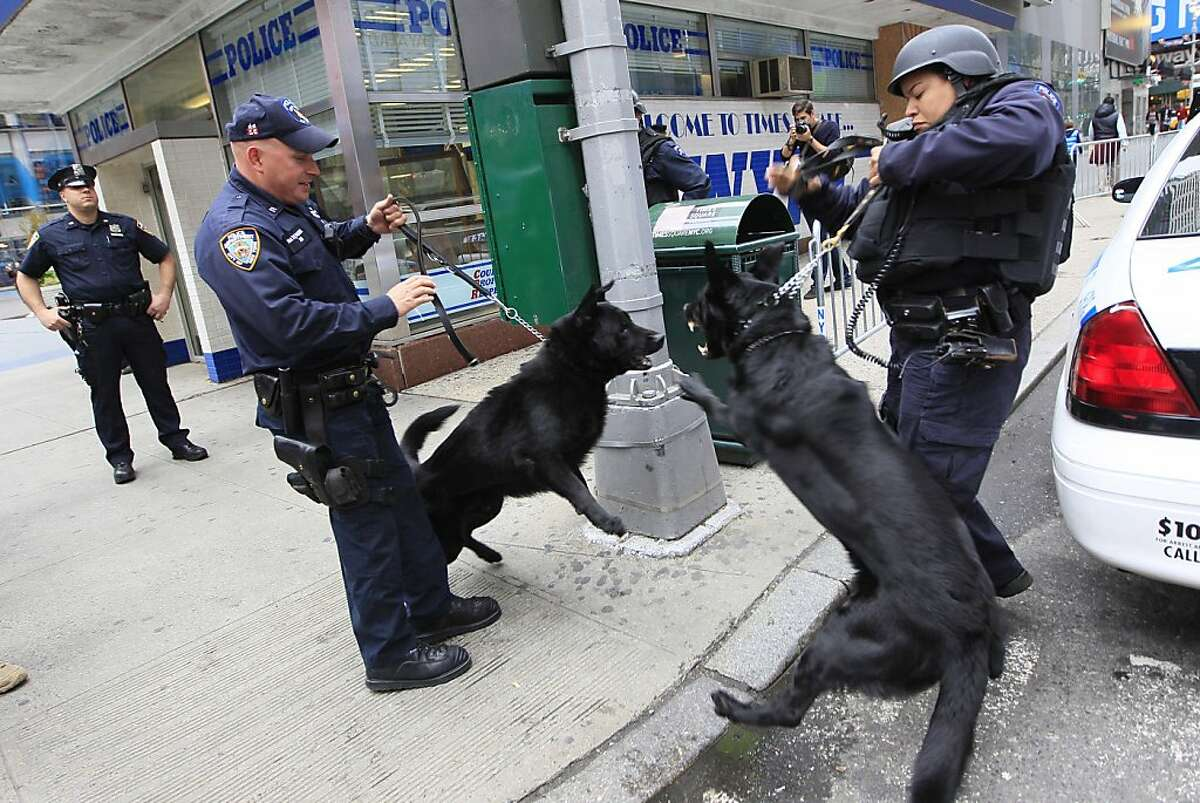 A New York City police patrol dog with Operation Hercules, right, barks at another patrol dog outside the police station in New York's Times Square on Monday, May 2, 2011. President Barack Obama announced Sunday night that Osama bin Laden was killed in anoperation led by the United States.