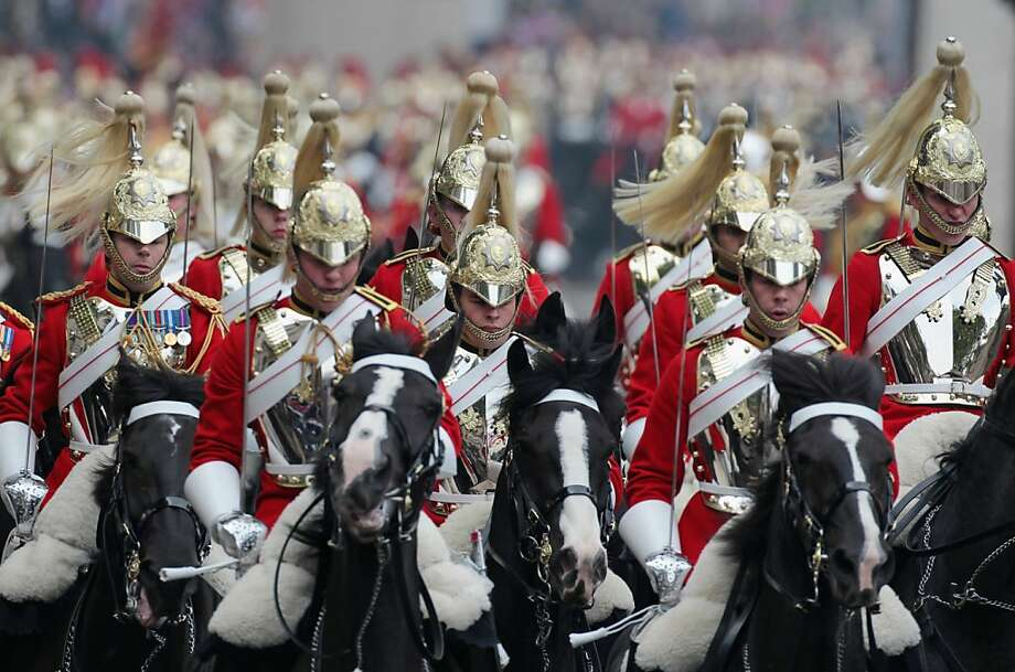 Members of the Household Cavalry on the day of the Royal Wedding of Their Royal Highnesses Prince William, Duke of Cambridge and Kate, Duchess of Cambridge, in London on April 29, 2011. Photo: Matt Cardy, AFP/Getty Images