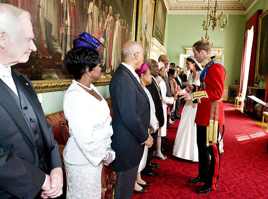 Catherine, Duchess of Cambridge and Prince William, Duke of Cambridge meet meet Governors-General and Prime Ministers at Buckingham Palace after her wedding to Prince William on April 29, 2011 in central London, England. The marriage of Prince William, the second in line to the British throne, to Catherine Middleton is being held in London today. The Archbishop of Canterbury conducted the service which was attended by 1900 guests, including foreign Royal family members and heads of state. Thousands of well-wishers from around the world have also flocked to London to witness the spectacle and pageantry of the Royal Wedding and street parties are being held throughout the UK. Photo: WPA Pool, Getty Images
