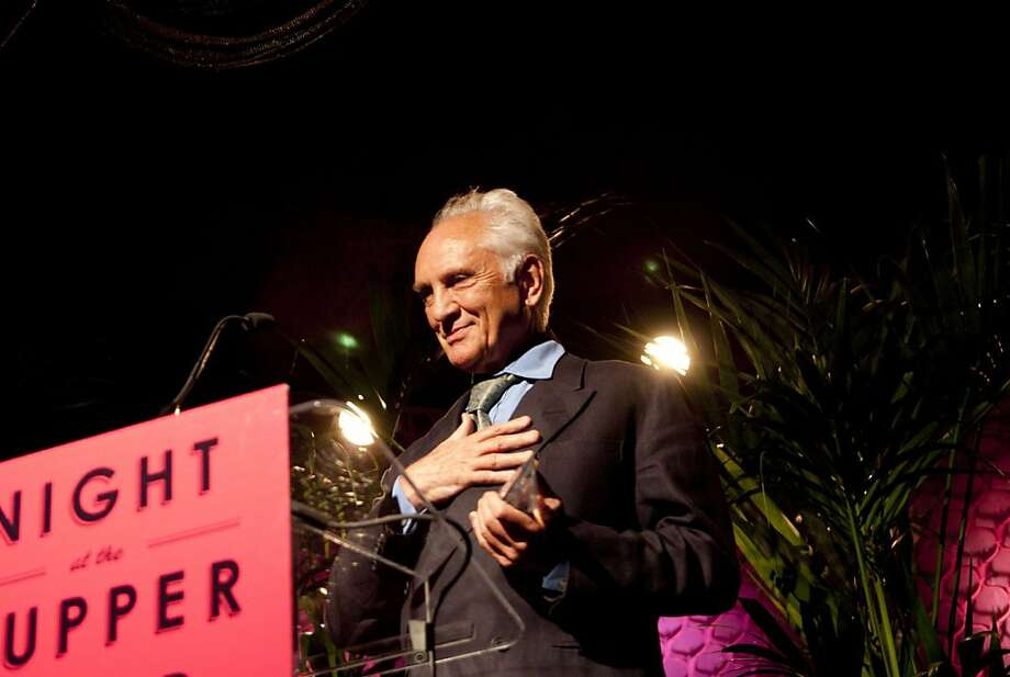 Terence Stamp, recipient of the Peter J. Owens Award for a distinguished acting career, accepting his award at Film Society Awards Night at the 54th San Francisco International Film Festival, April 28, 2011. Photo: Pat Mazzera, San Francisco Film Society