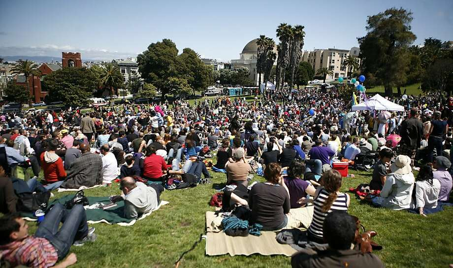 The Sisters of Perpetual Indulgence put on an Easter celebration in Dolores Park on Sunday. Photo: Anna Vignet, The Chronicle
