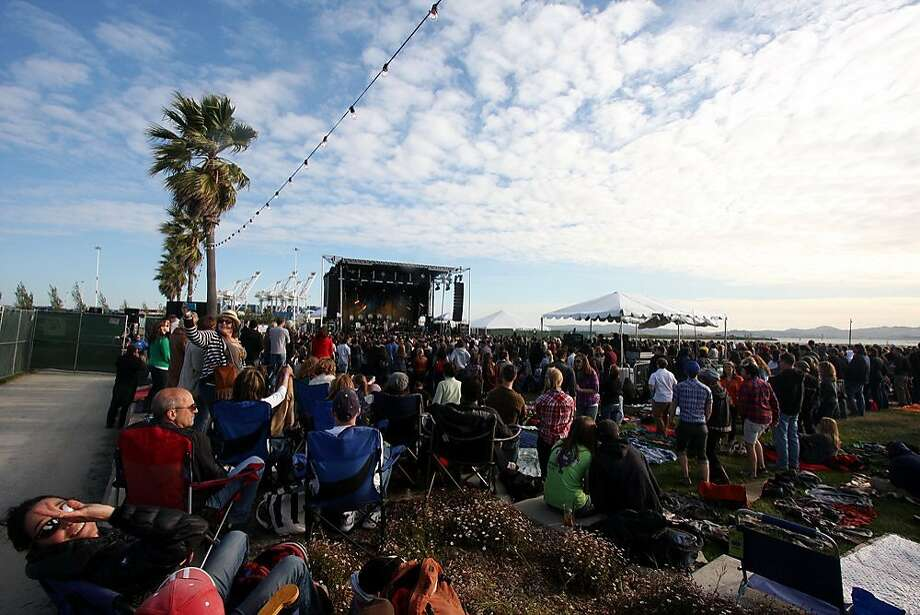 The first stop of six of the Railroad Revival Tour - which features Old Crow Medicine Show, Edward Sharpe and the Magnetic Zeros, and Mumford & Sons - at the Port of Oakland's Middle Harbor Park on April 21, 2011. The 3 bands will travel to six cities by vintage rail cars. Photo: Lara Brucker