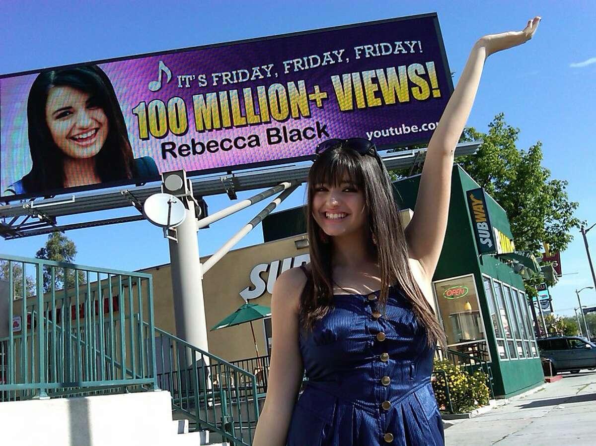 Rebecca Black's new billboard celebrating over 100 million YouTube views.