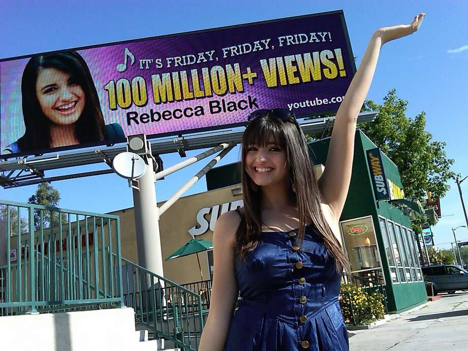 Rebecca Black's new billboard celebrating over 100 million YouTube views. Photo: John McEntee Management