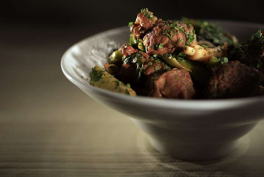 Lamb With Green Garlic: Sephardic Jews are allowed to eat rice at Passover but if you are an observant Ashkenazi, serve roasted potatoes to round out the plate. Click here for the recipe. Photo: John Lee, SFC