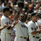 Pablo Sandoval is introduced before the Giants' home opener against the St. Louis Cardinals at AT&T Park in San Francisco on Friday.