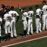 San Francisco Giants two time Cy Young award winner Tim Lincecum is introduced to the fans Friday during the pregame celebration that honored the team for winning the 2010 World Series.