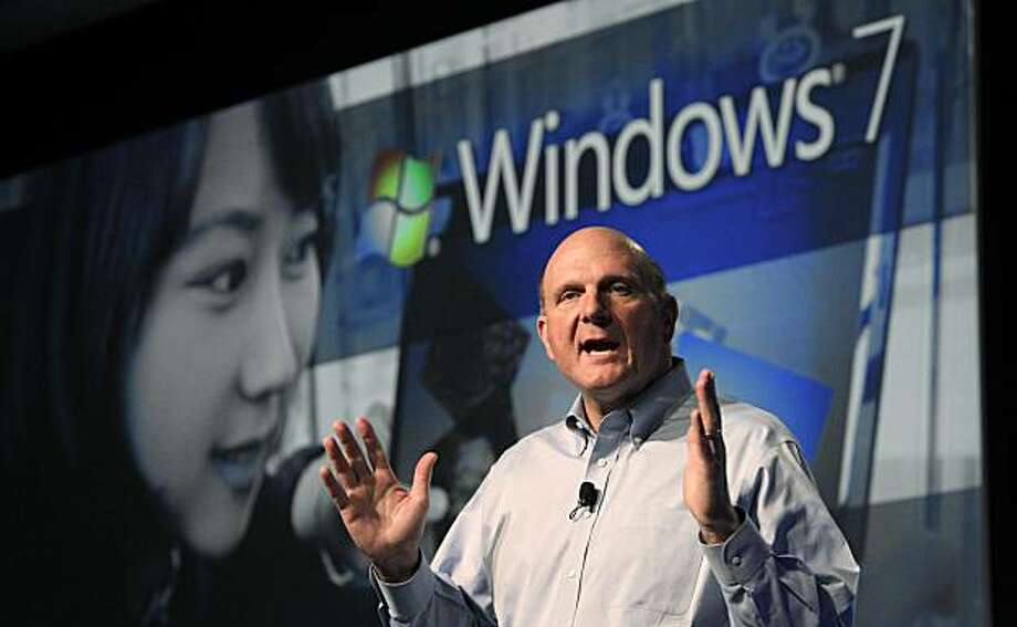 Microsoft CEO Steve Ballmer gives his keynote address at the company's annual Professional Developer's Conference Thursday, Oct. 28, 2010, in Redmond, Wash. The company is making a push toward supporting programs that run over the Internet, and introduced improved tools to build that kind of program at the conference. Photo: Elaine Thompson, AP