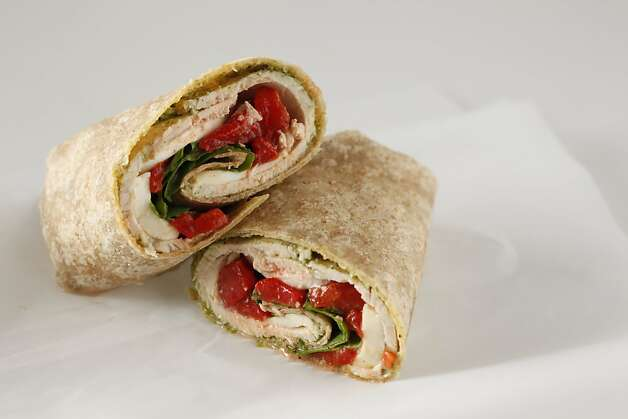 Turkey Pesto Wraps with Roasted Peppers and Mozzarella in San Francisco, Calif., on February 17, 2010. Food styled by Amanda Gold. Photo: Craig Lee, Special To The Chronicle