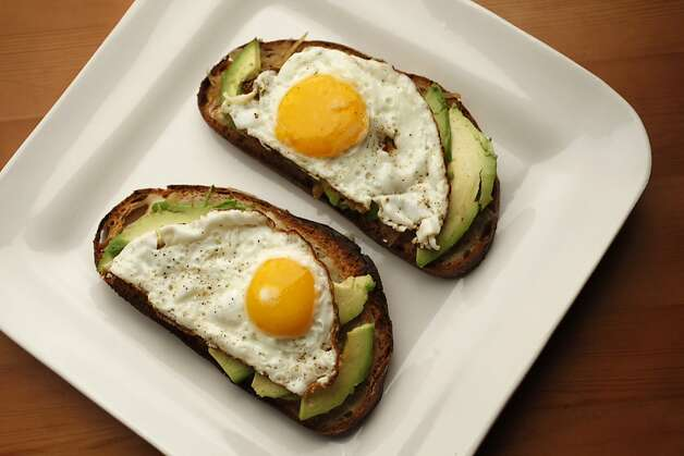 Open faced egg sandwiches with caramelized onions, havarti cheese and avocado in San Francisco, Calif., on November 11, 2009. Food styled by Amanda Gold. Photo: Craig Lee, Special To The Chronicle