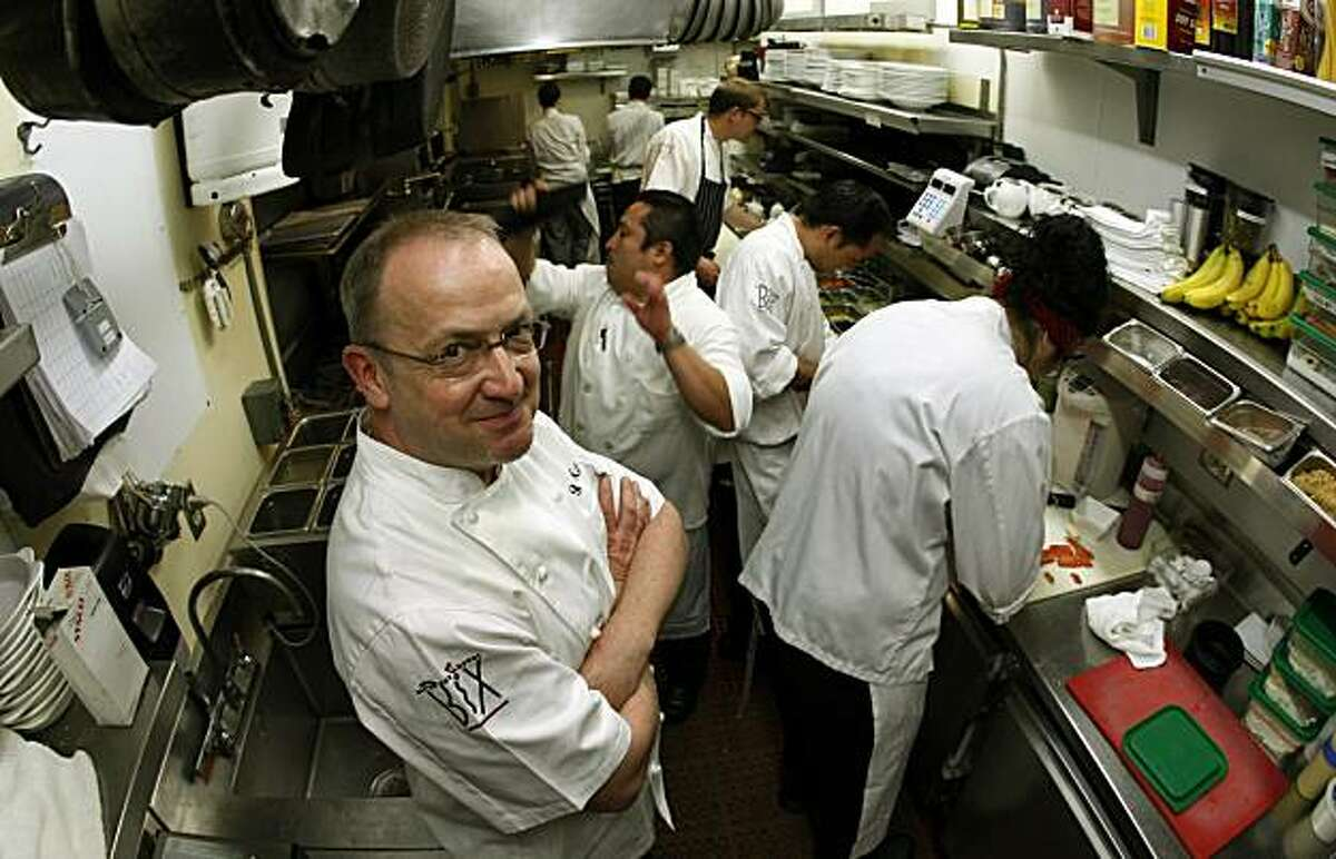 Bix, chef Bruce Hill and his staff of seven work in a small galley kitchen that's cramped but still manage to produce great food.