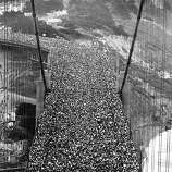 May 24, 1987 - Shot from the South Tower facing south down onto the roadway overlooking a mass of people at the 50th anniversary celebration for the Golden Gate Bridge.