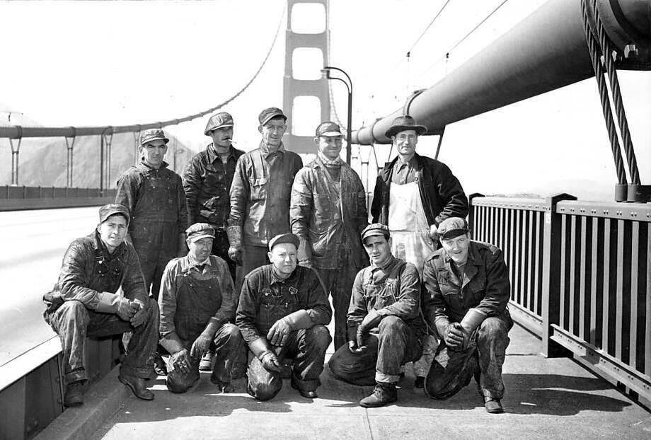 "June 25, 1950 - The ""High Crew"" - Bottom Row: Hale Sharrett, Daniel Galvin, Owen Dittman, James Delfino, Frank Anderson. Standing: John King, Bill Gavre, Gerald Cuff, Harry Fogle, Foreman James Mix. Photo: Bill Young, The Chronicle"