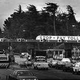 May 11, 1987 - The Golden Gate Bridge Toll Plaza looking south.