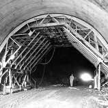 Sept 9 1954 - The nearly completed overpass at Spencer Avenue, a bit north of the tunnel, will give Sausalito new access to the highway.