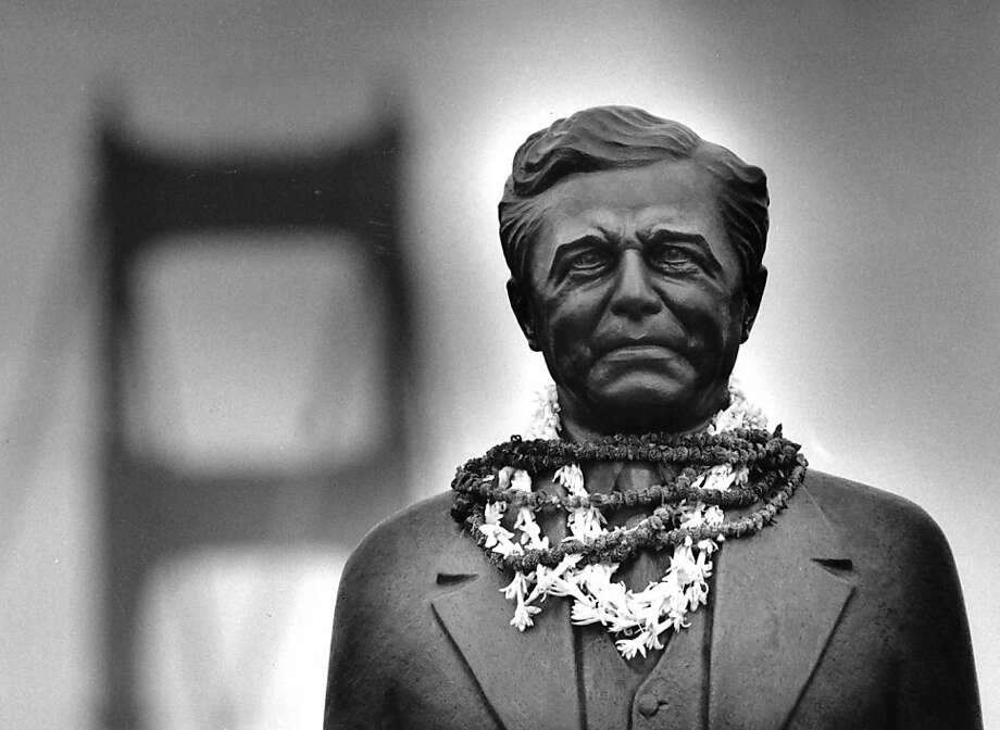 May 24, 1987 - Statue of Strauss is festooned with leis by afternoon's end of the 50th anniversary of the Golden Gate Bridge. Photo: Tom Levy, The Chronicle