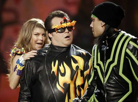 Left to right, Fergie, host Jack Black and Taboo of the Black Eyed Peas perform at Nickelodeon's 24th Annual Kids' Choice Awards on Saturday, April 2, 2011, in Los Angeles. Photo: Matt Sayles, AP
