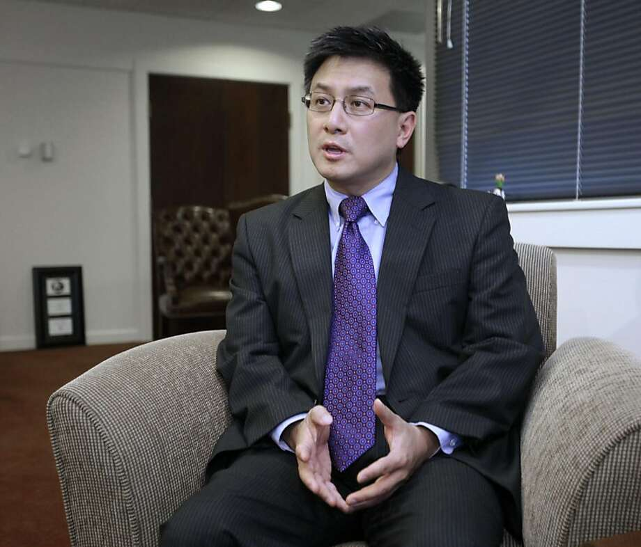 Controller John Chiang discusses his decision to halt paychecks for all 120 state lawmakers after they failed to come up with a balanced budget by the June 15th deadline, during an interview with the Associated Press in Sacramento,  Calif., Tuesday, June21, 2011.  Chiang said that he found the plan passed by Democrats on a simple majority vote last week was not balanced and therefore lawmakers did not meet the requirement for getting paid under Proposition 25, passed by the voters in November. Photo: Rich Pedroncelli, AP