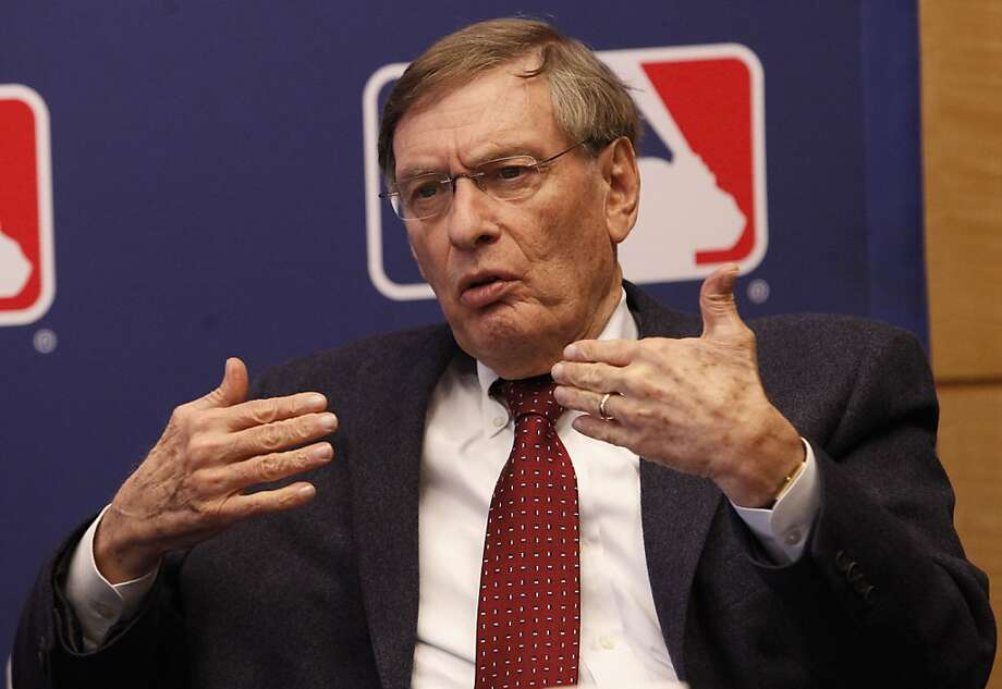 Major League Baseball Commissioner Bud Selig gestures while speaking during a news conferencee  Thursday, April 21, 2011, in New York.  Players who appeared for the major leagues for less than four years from 1947-79 will receive payments of up to $10,000in each of the next two years under an agreement between Major League Baseball and the players' association. Photo: Frank Franklin II, AP
