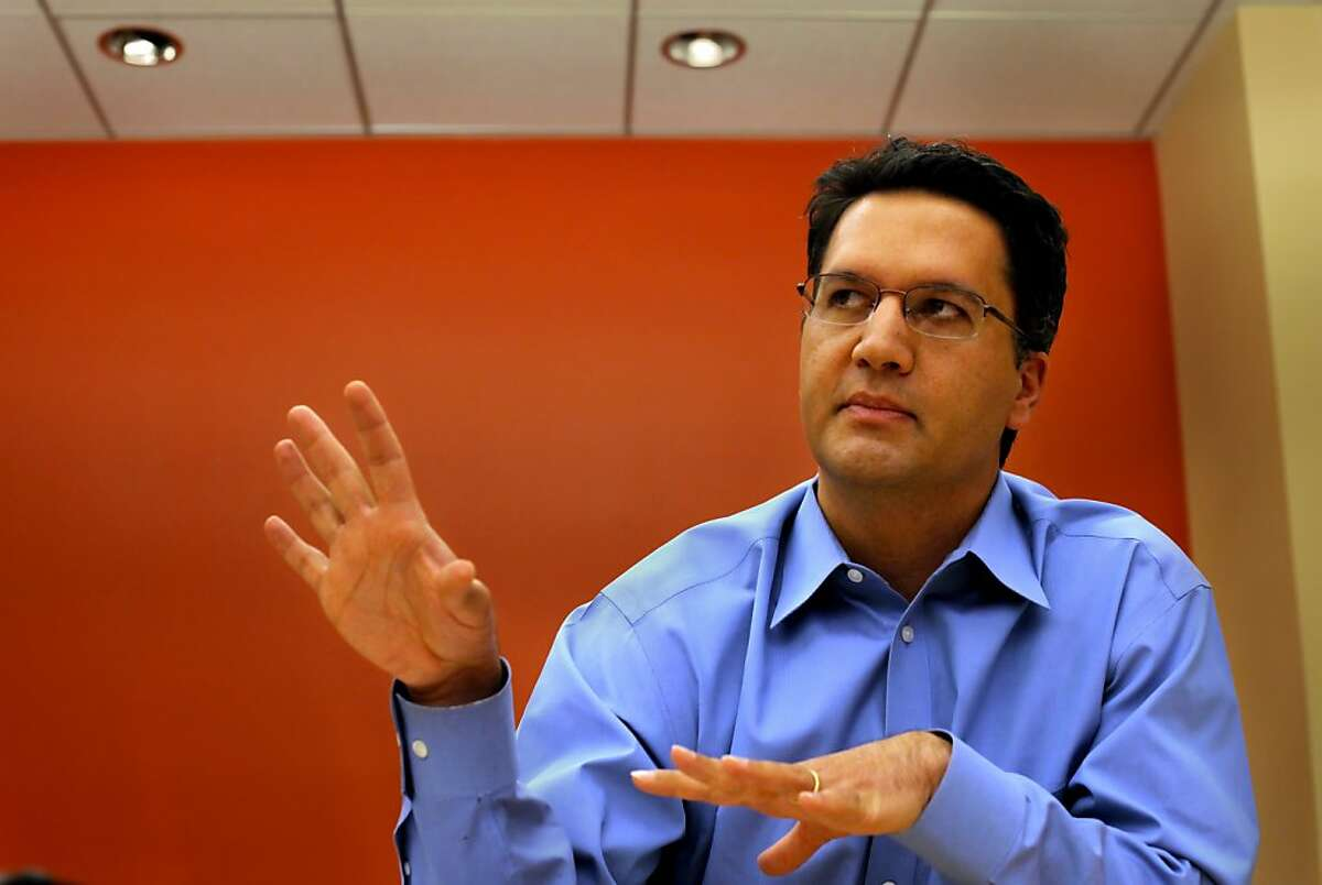 Abdi Soltani, Executive Director of the American Civil Liberties Union of Northern California, talks to his staff of their accomplishments and their goals for the week during a meeting, Monday June 20, 2011, in San Francisco,Calif.