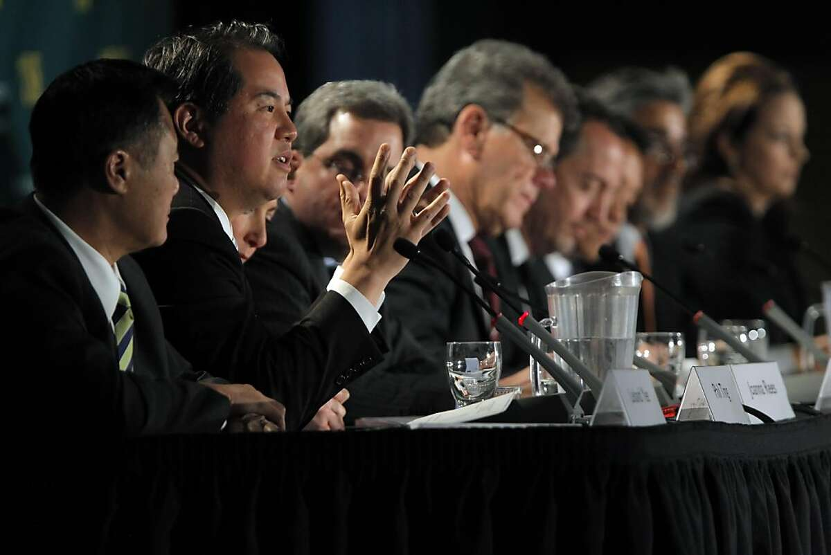 County Assessor Phil Ting addresses a question during the mayoral debate. The leading contenders in San Francisco's mayor race squared off at their first debate at the University of San Francisco, in San Francisco, Calif., on Thursday, May 5, 2011.