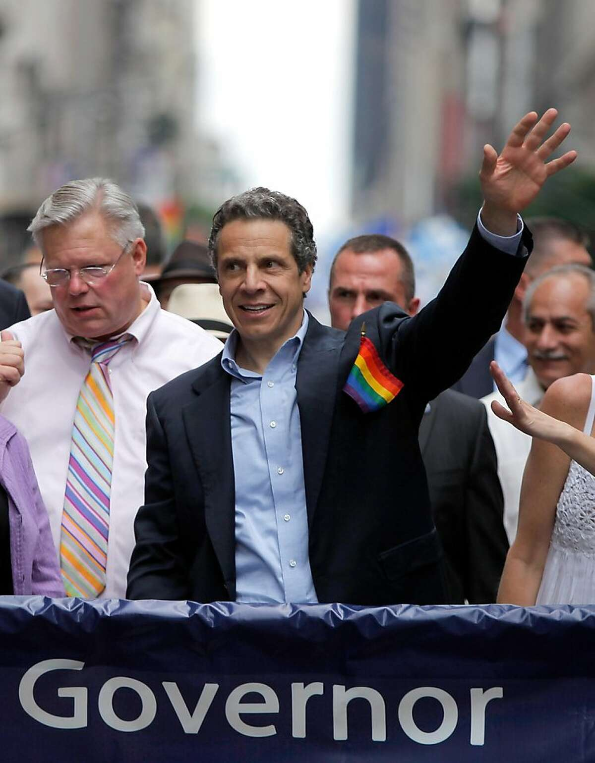 NEW YORK, NY - JUNE 26: New York Governor Mario Cuomo marches during the 2011 NYC LGBT Pride March on the streets of Manhattan on June 26, 2011 in New York City. Thousands of revelers also had reason to celebrate since New York state legislators approveda bill legalizing same-sex marriage which Governor Cuomo signed in to law on Friday June 24.