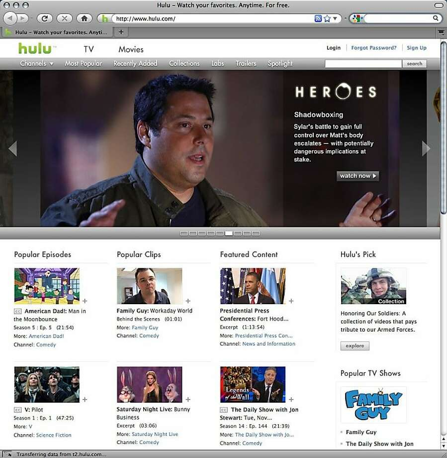 FILE - In this Nov. 11, 2009 file screen grab, the home page of Hulu.com, is shown. Online video site Hulu has launched a $9.99-per-month paid section, under pressure to generate a profit from its media company parents. Photo: Anonymous, AP