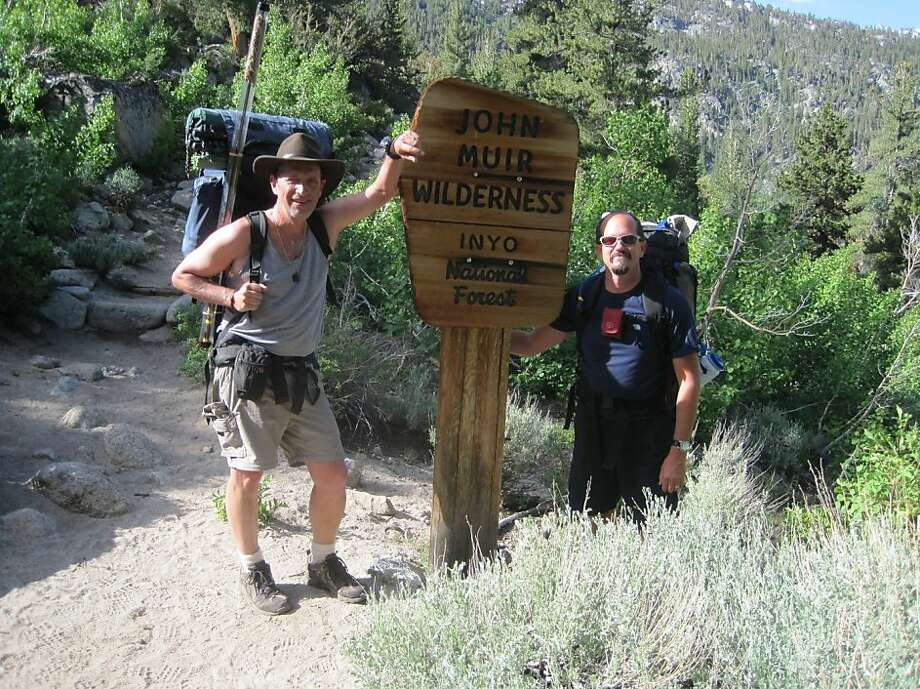 Richard Fox, left, who was swept off a bridge at Yosemite National Park on June 29, 2011. With him is David Samuelson, who was hiking with Fox but survived. Photo: Courtesy Of Paula Meyer