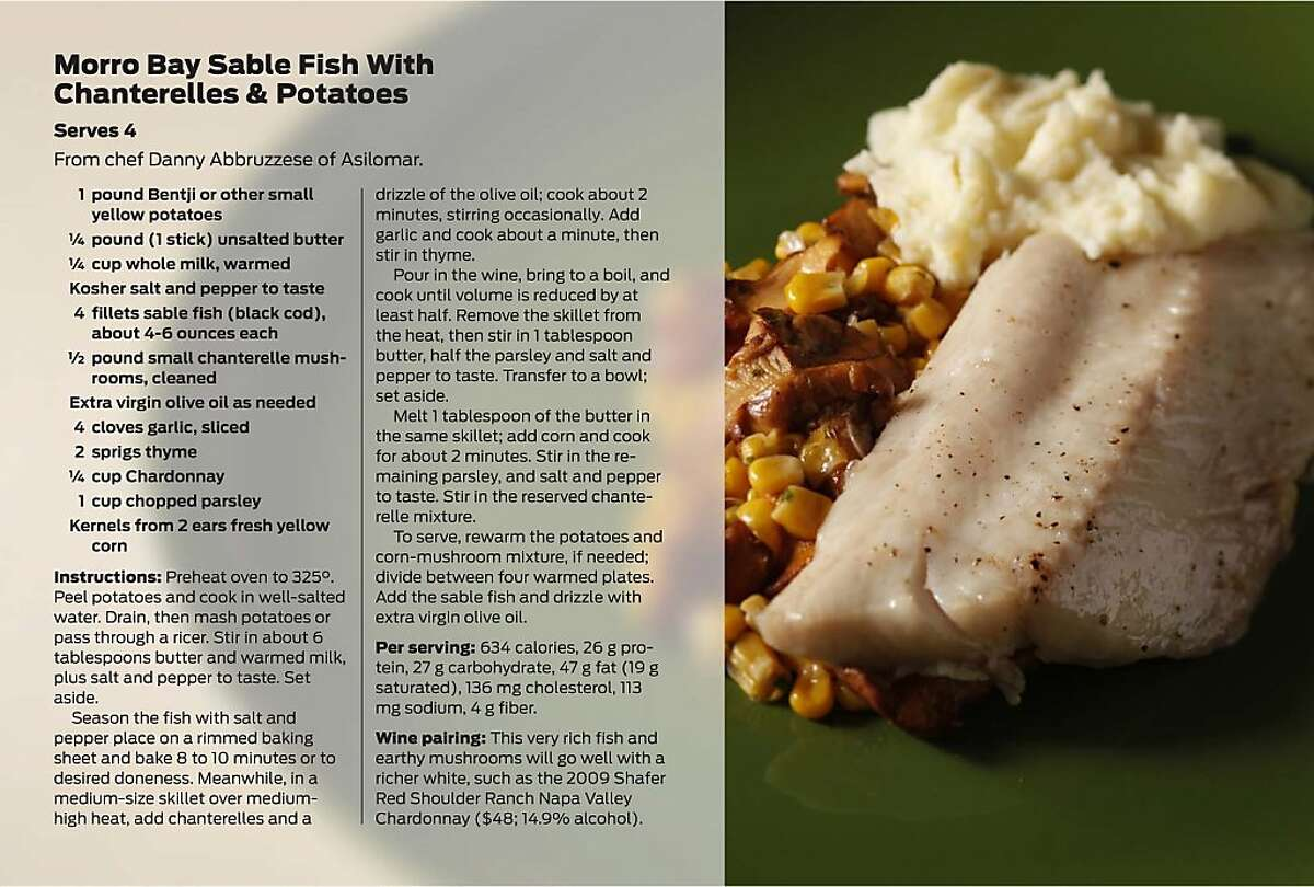 Morro Bay Sable Fish With Chanterelles & Potatoes
