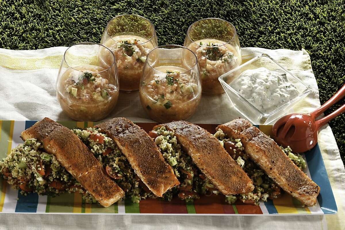 Smoky Canteloupe Gazpacho; Tabbouleh with Feta crumbles; Spiced Salmon & Tzatziki. Food styled by Sophie Brickman and Erick Wong