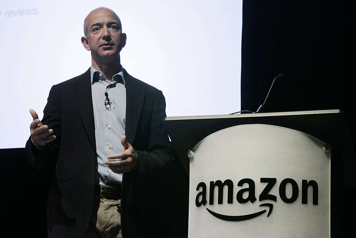 FILE - In this file photo made May 25, 2010, Amazon.com Inc. CEO and founder Jeff Bezos speaks during the company's shareholders meeting in Seattle. Amazon.com Inc. said Thursday, July 22, 2010, that its second-quarter income jumped, bolstered by shopperswho spent more with the online retailer even as consumer confidence fell overall.