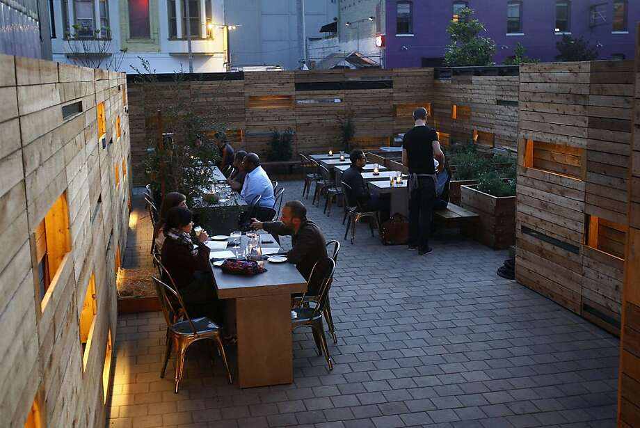 The patio area at Bar Agricole during the dinner hour in San Francisco, Calif., on Friday, October 15, 2010. Photo: Liz Hafalia, The Chronicle