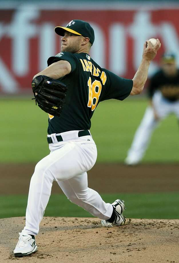 Oakland Athletics' Rich Harden started for the AÕs against the Arizona DiamondbackÕs Friday July 1, 2011. This was HardenÕs first start of the season after missing the first half with a muscle strain under his right arm. The A's expect Harden to go about 90 pitches after throwing 72 pitches in his last rehab outing. Photo: Lance Iversen, The Chronicle